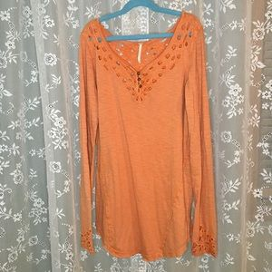 Free People Orange Long Sleeve with Cutout Detail